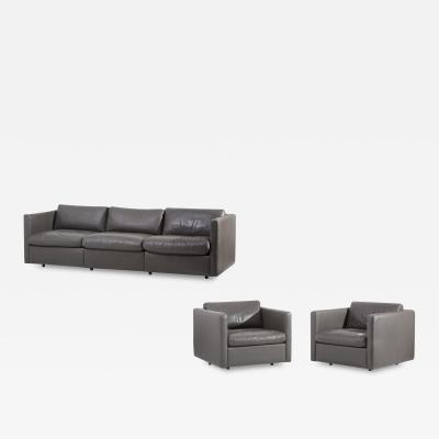Charles Pfister Knoll Charles Pfister Sofa Set in Grey Leather USA 1970s