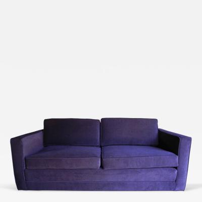 Charles Pfister Mid Century Modern Purple Velvet Sofa Settee by Charles Pfister for Knoll
