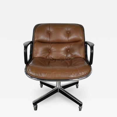 Charles Pollock Dxecutive armchair by charles pollock for knoll brown leather with 4 prong base