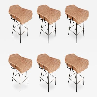 Charles Ramos A Set of Six Mid Century Bar Stools attributed to Charles Ramos