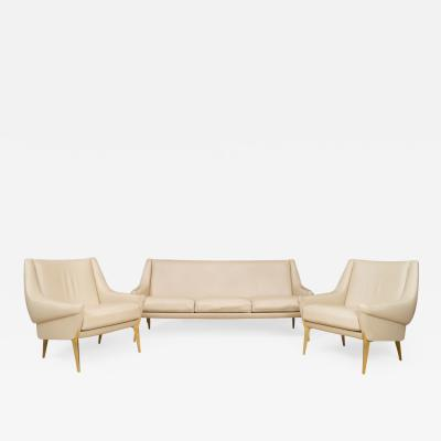 Charles Ramos Leather Salon Set Pair of Armchairs and Settee
