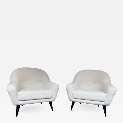 Charles Ramos Pair of Armchairs Boucl Fabric by Charles Ramos France 1950s0