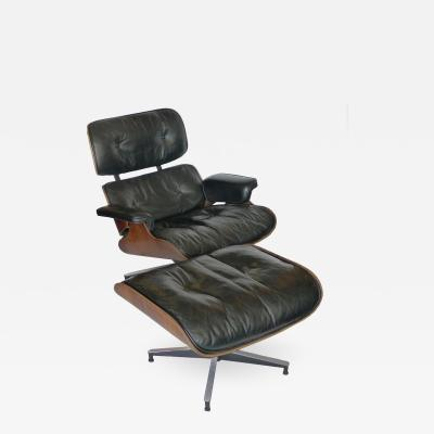 Charles Ray Eames Black Leather Rosewood Eames 670 Chair and 671 Ottoman