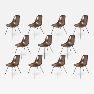 Charles Ray Eames Brown Eames Shell Chairs on H Base