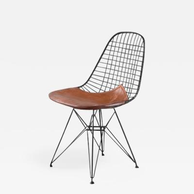 Charles Ray Eames Eames early DKR wire chair with leather seat on Eiffel frame USA 1950s