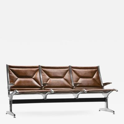 Charles Ray Eames Eames for Herman Miller Tandem Sling Bench in Copper Edelman Leather