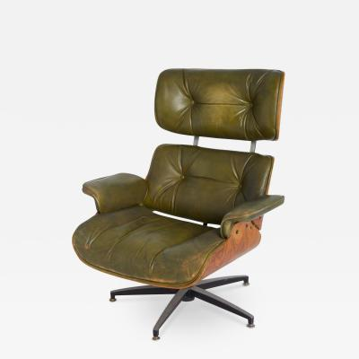 Charles Ray Eames Early Model 670 Green Leather Lounge Chair