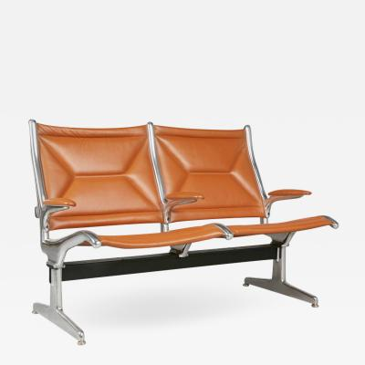 Charles Ray Eames Edelman Leather Two Seat Tandem Sling by Charles Eames for Herman Miller