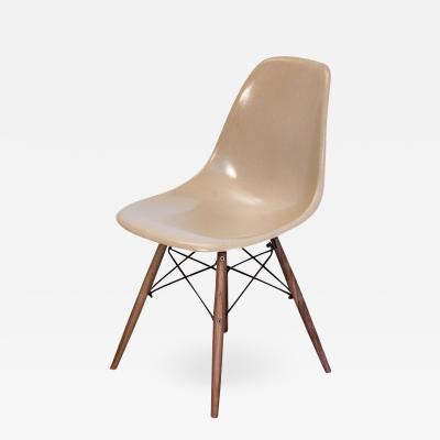 Charles Ray Eames Greige Eames Shell Chairs on Walnut Dowel Base
