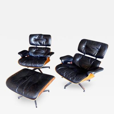 Charles Ray Eames Pair of Eames 670 Chairs Ottoman