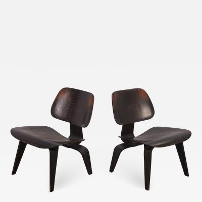 Charles Ray Eames Pair of Eames Ebonized LCWs for Evans