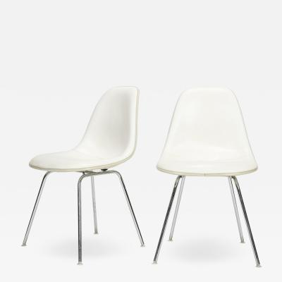 Charles Ray Eames Pair of Eames Side Chairs with white leather cover Italy 60s