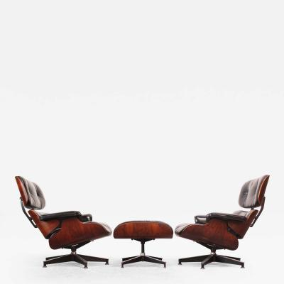 Charles Ray Eames Pair of Vintage Rosewood Eames 670 Lounge Chairs with Ottoman