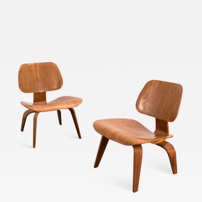 Charles Ray Eames Pair of Walnut LCWs for Evans