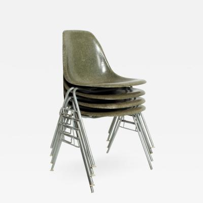 Charles Ray Eames Set of 4 Eames Herman Millers DSS Fiberglass Chairs Rare Olive Color