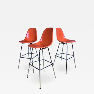 Charles Ray Eames Set of Charles Ray Eames Fiberglass Shell Bar Stools