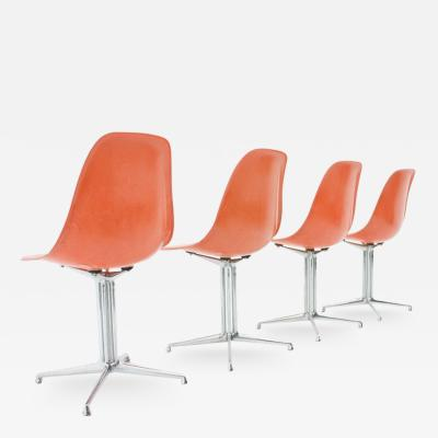 Charles Ray Eames Set of Four Charles Ray Eames Fiberglass Side Chairs with La Fonda Base