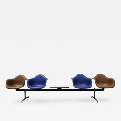 Charles Ray Eames Tandem Four Shell Seating with Table by Charles and Ray Eames for Herman Miller