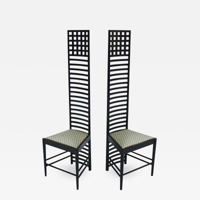 Charles Rennie Mackintosh Mackintosh Pair Of Ash Wood And Cotton 292 Hill House 1 Chairs Italy 60s