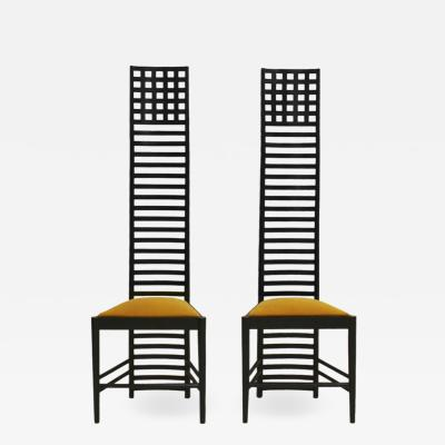 Charles Rennie Mackintosh Mid Century Modern Mackintosh 292 Hill House 1 Italian Pair of Ashwood Chairs