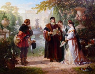 Charles Robert Leslie Katherine Petruchio Large 19th Century Oil Painting of Shakespeare Play
