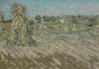 Charles Salis Kaelin Haystacks in Pastel