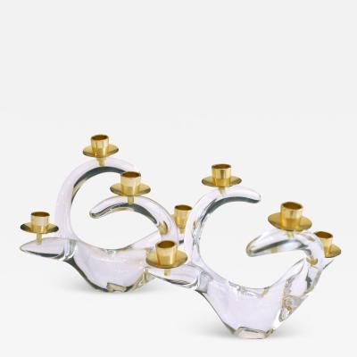 Charles Schneider Antique French Crystal Schneider Candlesticks As Pair