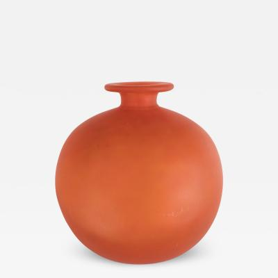 Charles Schneider French Art Deco Vase in Opaque Persimmon Hue Signed by Charles Schneider