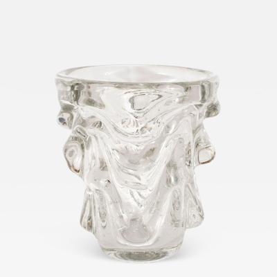 Charles Schneider Mid Century Modern Sculptural Handblown Glass Vase by Charles Schneider
