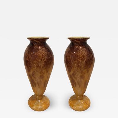 Charles Schneider Pair of Blown Glass Vases