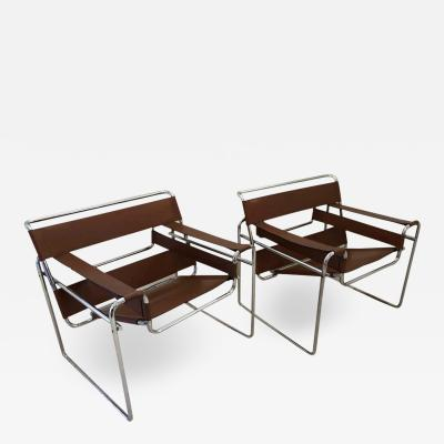Charles Stendig Pair of Marcel Breuer Wassily Leather Lounge Chairs Gavina for Charles Stendig