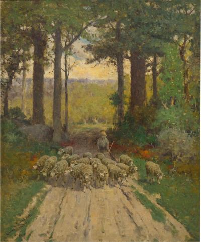 Charles T Phelan Heading Home 1894 Antique Landscape Painting by Charles T Phelan