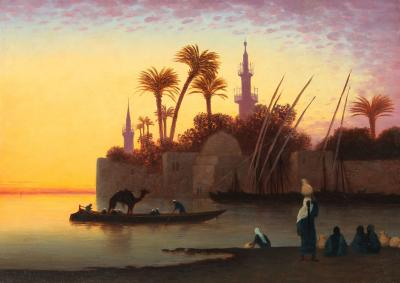 Charles Th odore Fr re Along the Nile at Sunset