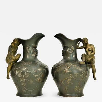 Charles Th odore Perron Pair Art Nouveau Pitchers Charles Th odore Perron 1900 s