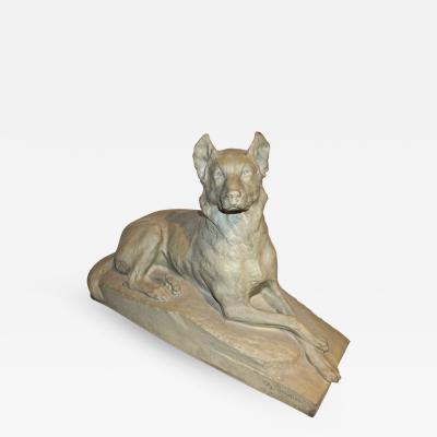 Charles Virion Charles Virion 1920 Antique Gray Terracotta Sculpture of a German Shepherd Dog