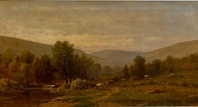 Charles Wilson Knapp Landscape Painting Signed Charles Wilson Knapp American Circa 19th Century