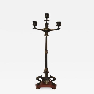 Charles X Four Light Bronze Candelabrum with Marble Base