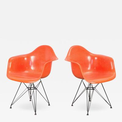 Charles and Ray Eames Pair of Orange Eames Armchair Shells