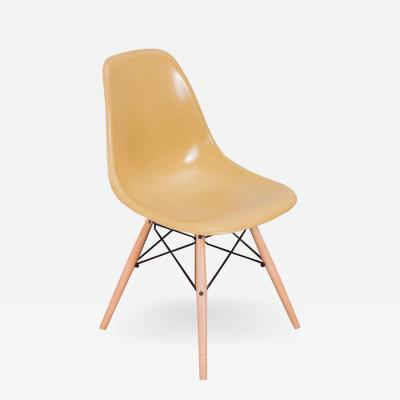 Charles and Ray Eames Straw Mustard Eames Shell Chairs on Maple Dowel Base