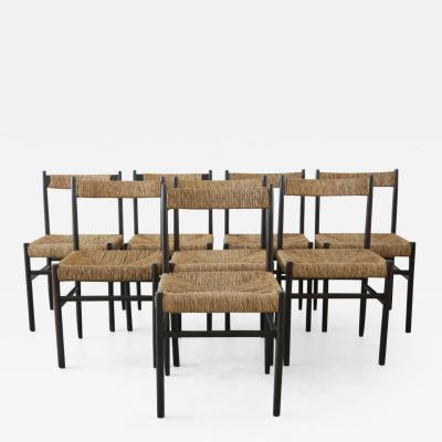 Charlotte Perriand CHARLOTTE PERRIAND ATTRIBUTED DINING CHAIRS FOR ROBERT SENTOU SET OF 8