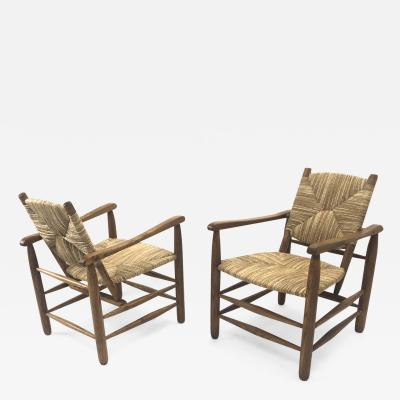 Charlotte Perriand Charlotte Perriand Iconic pair of Rush Arm Chair in Genuine Vintage Condition