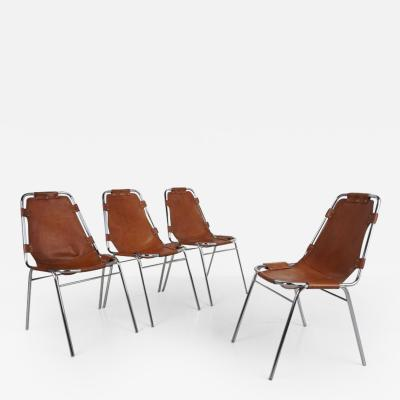 Charlotte Perriand Charlotte Perriand Les Arcs Chairs Tan Leather