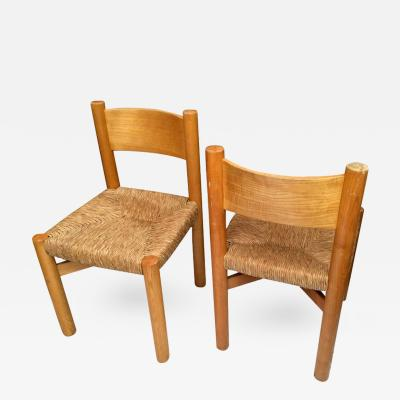Charlotte Perriand Charlotte Perriand Pair of Ash Tree and Rush Chairs