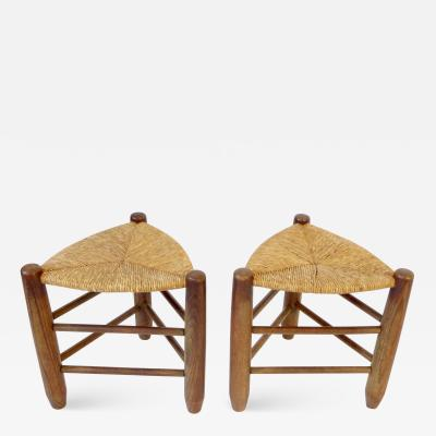 Charlotte Perriand Charlotte Perriand Pair of Tripod Rush Seat and Oak Stools for Les Arcs