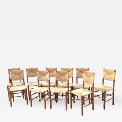 Charlotte Perriand Charlotte Perriand Rare Set of Ten Rush Bauche Chairs