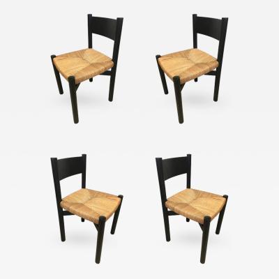 Charlotte Perriand Charlotte Perriand Set of Four Black Model Meribel Rush Chairs