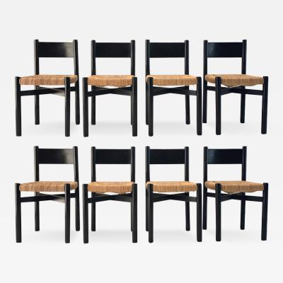 Charlotte Perriand Charlotte Perriand exceptional set of 8 black meribel chairs