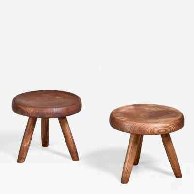 Charlotte Perriand Charlotte Perriand pair of low ash stools France