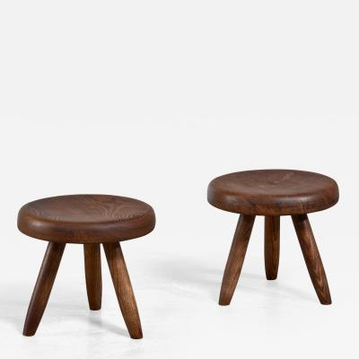 Charlotte Perriand Charlotte Perriand pair of low tripod stools