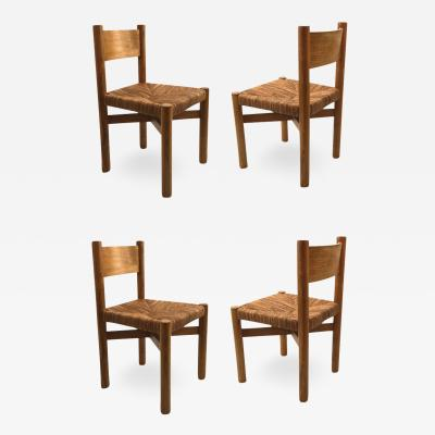 Charlotte Perriand Charlotte Perriand set of 4 model meribel chairs in ash tree and rush